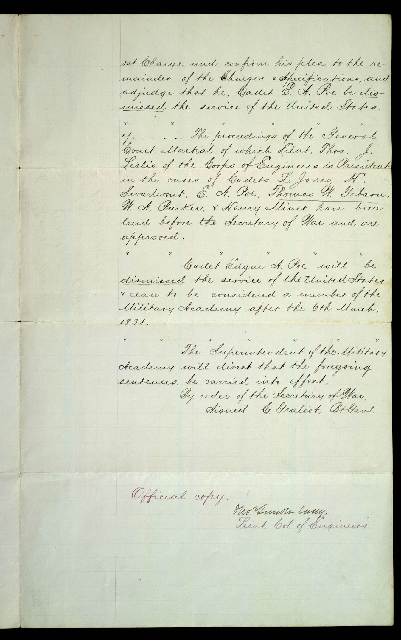 ... General Court Martial Orders In The Case Of Cadet Edgar A. Poe