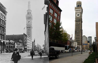 Bromo-Seltzer Tower - 1912 and Now